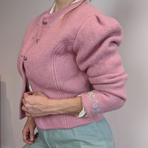 Vintage Boucle Spring Knit Cardigan Button Up